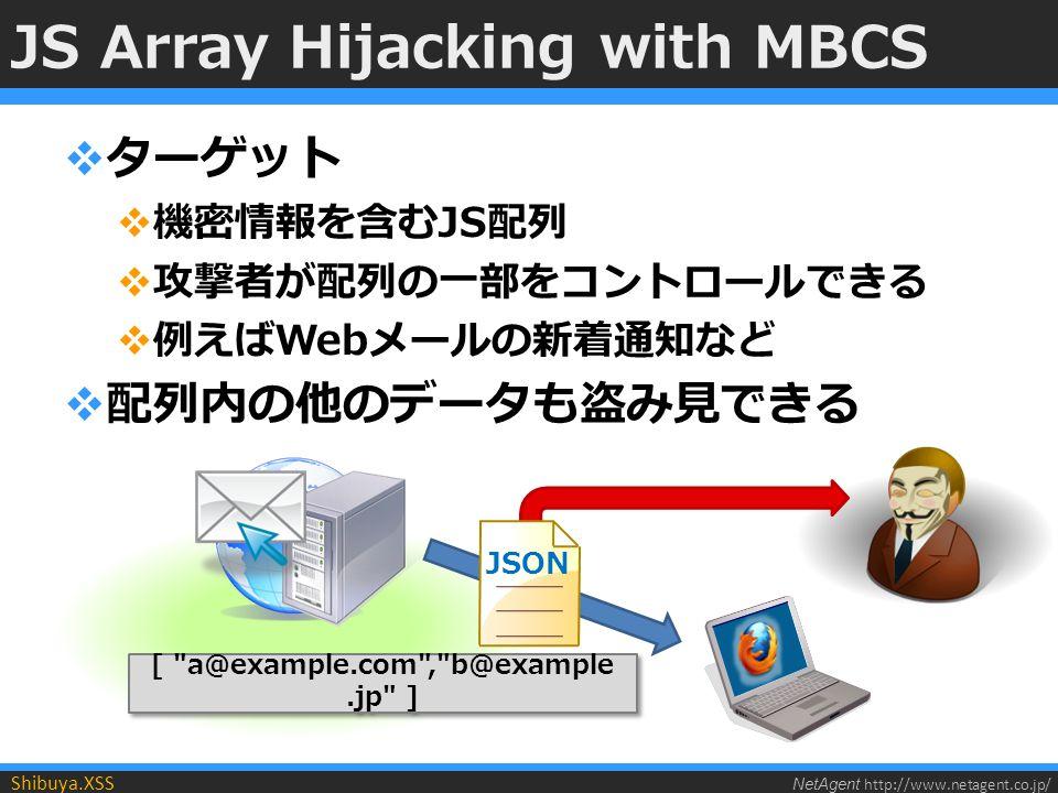 NetAgent http://www.netagent.co.jp/ Shibuya.XSS JS Array Hijacking with MBCS  ターゲット  機密情報を含むJS配列  攻撃者が配列の一部をコントロールできる  例えばWebメールの新着通知など  配列内の他のデータも盗み見できる [ a@example.com , b@example.jp ] JSON