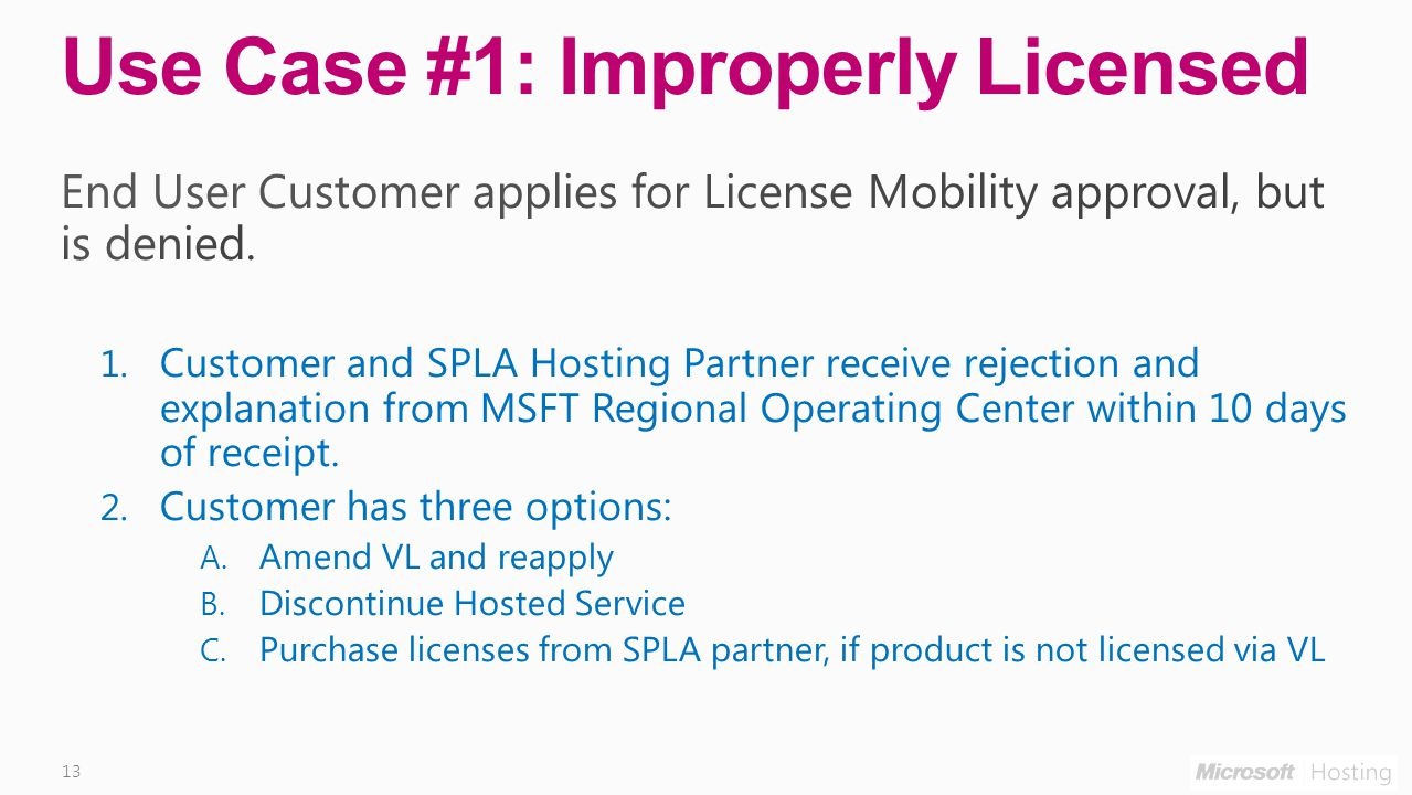 13 Use Case #1: Improperly Licensed