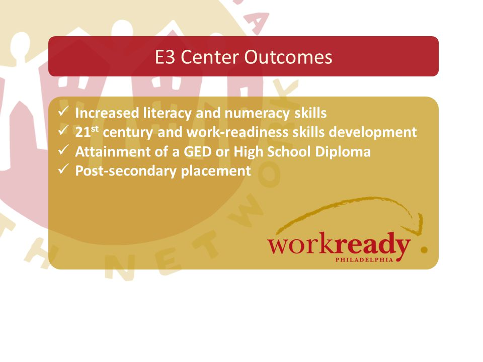 Increased literacy and numeracy skills 21 st century and work-readiness skills development Attainment of a GED or High School Diploma Post-secondary p
