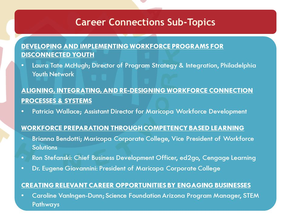 Career Connections Sub-Topics DEVELOPING AND IMPLEMENTING WORKFORCE PROGRAMS FOR DISCONNECTED YOUTH Laura Tate McHugh; Director of Program Strategy &