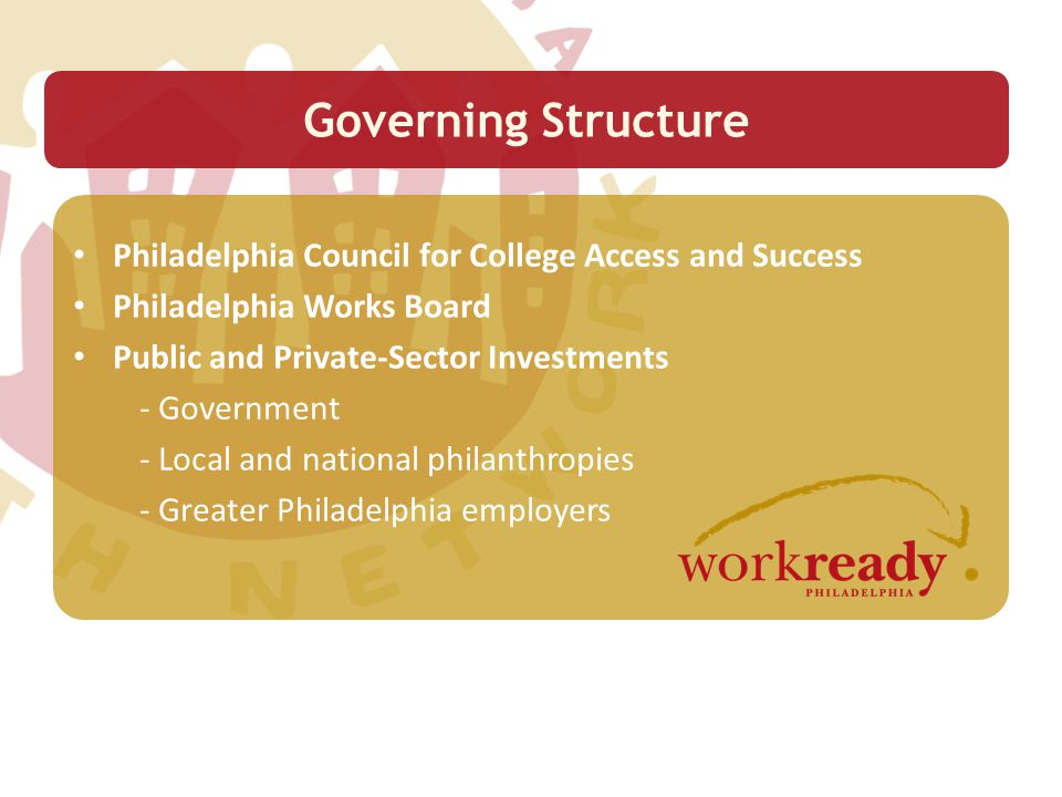 Year-round and summer programming Career exposure and preparation opportunities Skills mastery WorkReady Philadelphia