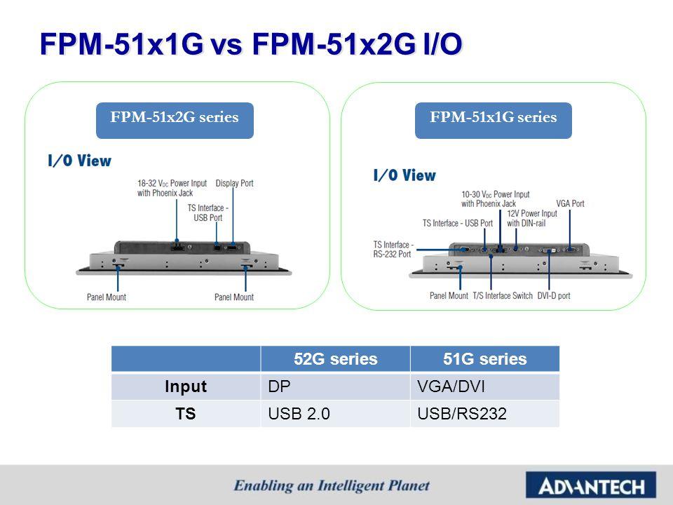 FPM-51x1G vs FPM-51x2G I/O 52G series51G series InputDPVGA/DVI TSUSB 2.0USB/RS232 FPM-51x1G seriesFPM-51x2G series