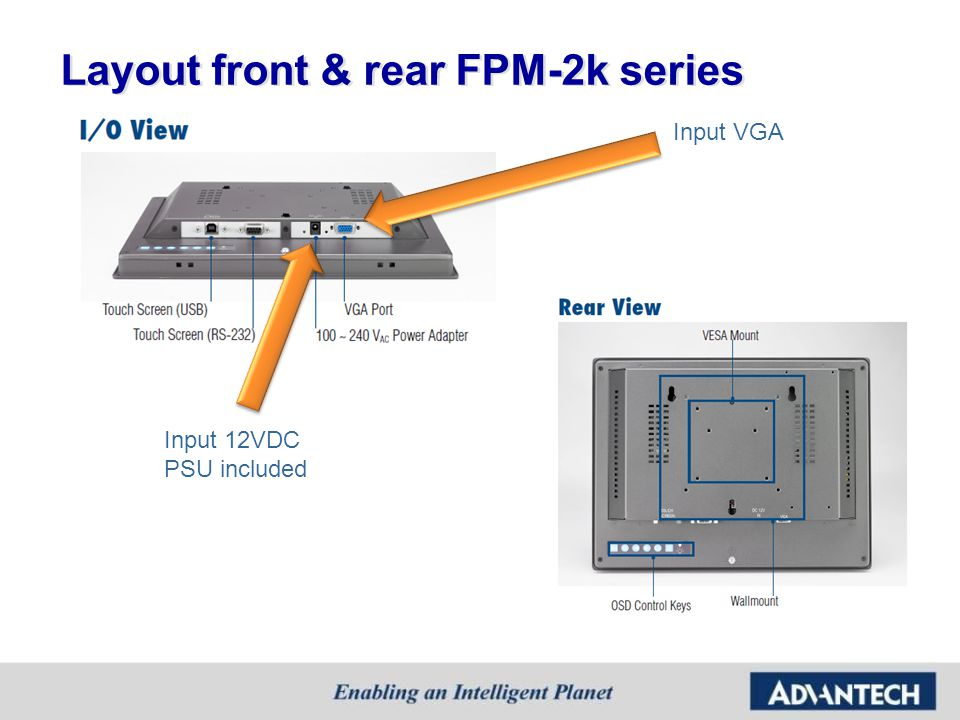 Layout front & rear FPM-2k series Input 12VDC PSU included Input VGA