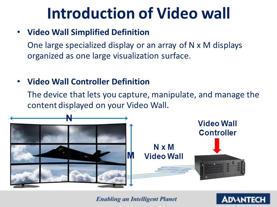 Introduction of Video wall Video Wall Simplified Definition One large specialized display or an array of N x M displays organized as one large visuali