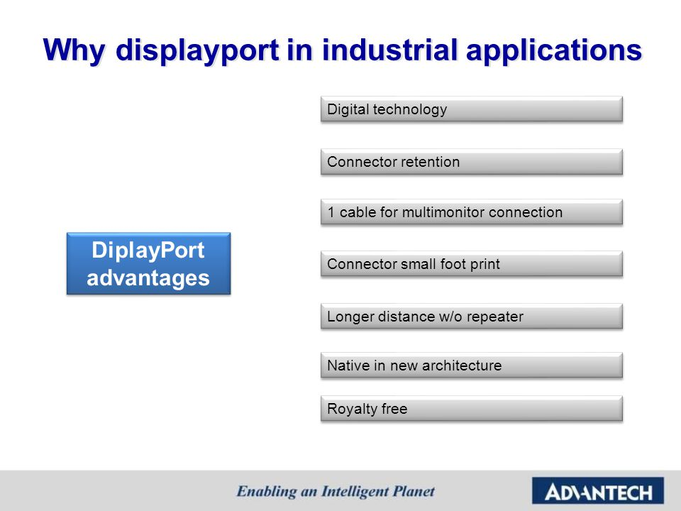 Why displayport in industrial applications Digital technology DiplayPort advantages DiplayPort advantages Connector retention Connector small foot pri