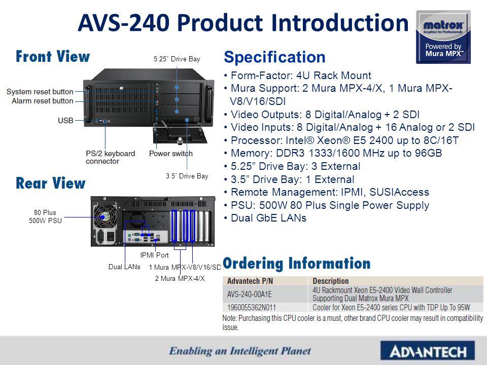 AVS-240 Product Introduction Form-Factor: 4U Rack Mount Mura Support: 2 Mura MPX-4/X, 1 Mura MPX- V8/V16/SDI Video Outputs: 8 Digital/Analog + 2 SDI V