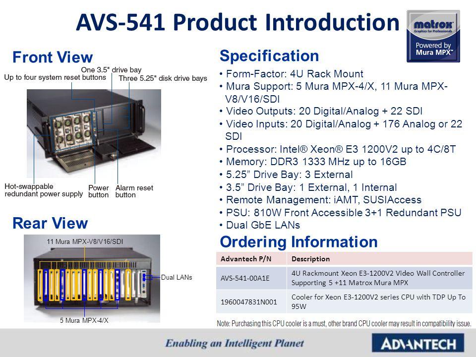 AVS-541 Product Introduction Form-Factor: 4U Rack Mount Mura Support: 5 Mura MPX-4/X, 11 Mura MPX- V8/V16/SDI Video Outputs: 20 Digital/Analog + 22 SD