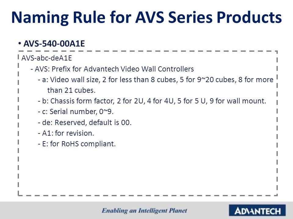 AVS-540-00A1E AVS-abc-deA1E - AVS: Prefix for Advantech Video Wall Controllers - a: Video wall size, 2 for less than 8 cubes, 5 for 9~20 cubes, 8 for