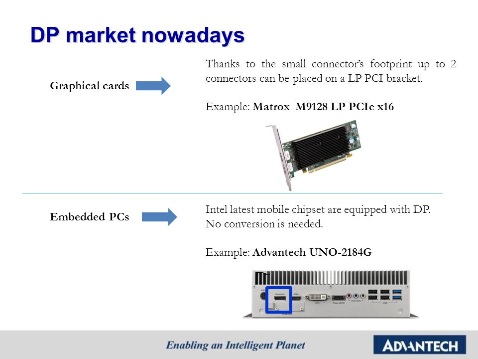 Matrox lineup Matrox is using DP more and more in his product line…