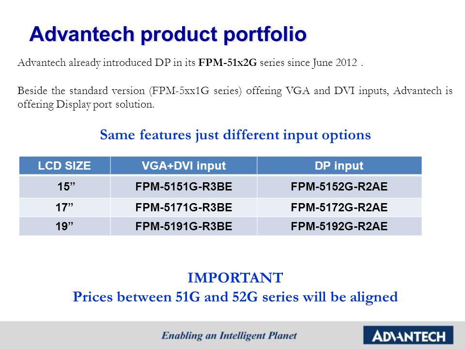 Advantech product portfolio Advantech already introduced DP in its FPM-51x2G series since June 2012. Beside the standard version (FPM-5xx1G series) of