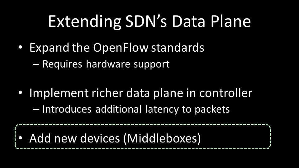 Extending SDN's Data Plane Expand the OpenFlow standards – Requires hardware support Implement richer data plane in controller – Introduces additional latency to packets Add new devices (Middleboxes)
