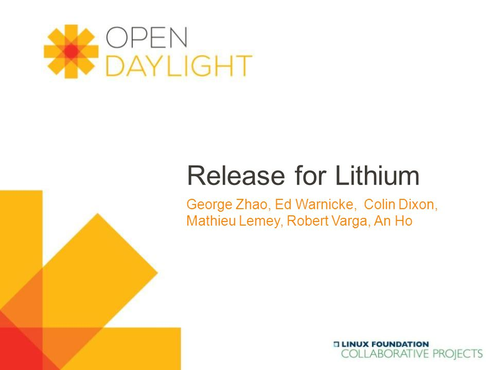 www.opendaylight.org Content 2  Opendaylight release (Ed, George)  Lessons learned ( Colin, Robert)  Proposal for Lithium release  Release process, schedule and milestones (George, Robert)  Auto-release move to Gerrit.
