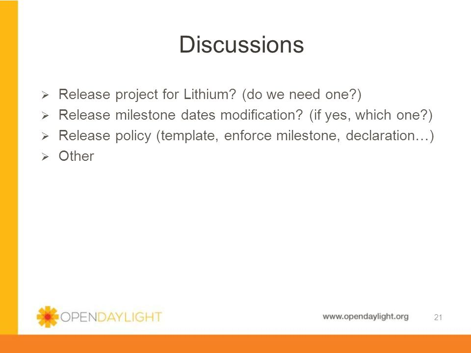 www.opendaylight.org  Release project for Lithium.