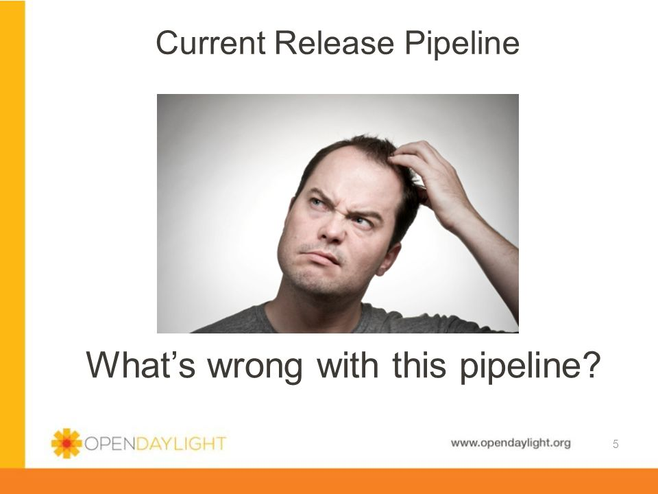 www.opendaylight.org Current Release Pipeline 5 What's wrong with this pipeline