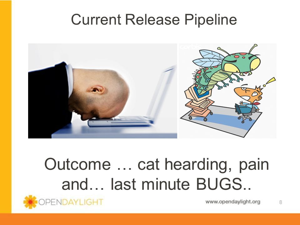 www.opendaylight.org Current Release Pipeline 8 Outcome … cat hearding, pain and… last minute BUGS..