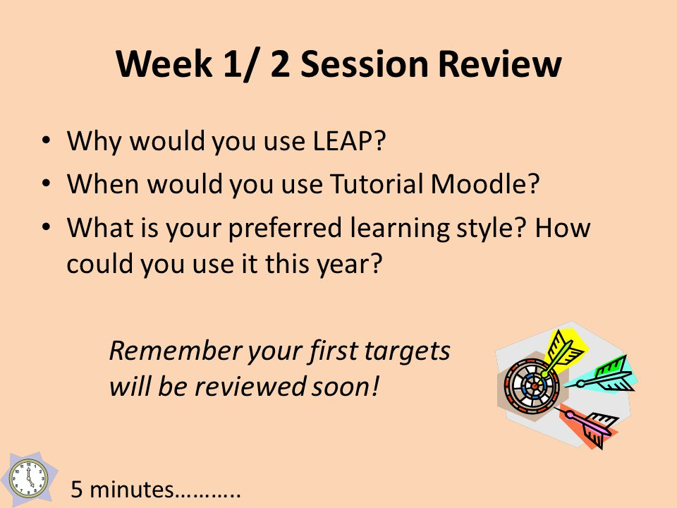 Week 1/ 2 Session Review Why would you use LEAP.When would you use Tutorial Moodle.