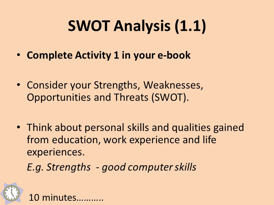 SWOT Analysis (1.1) Complete Activity 1 in your e-book Consider your Strengths, Weaknesses, Opportunities and Threats (SWOT).