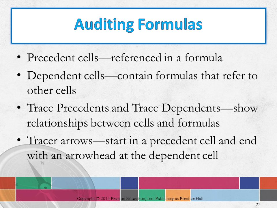 Precedent cells—referenced in a formula Dependent cells—contain formulas that refer to other cells Trace Precedents and Trace Dependents—show relationships between cells and formulas Tracer arrows—start in a precedent cell and end with an arrowhead at the dependent cell 22 Copyright © 2014 Pearson Education, Inc.