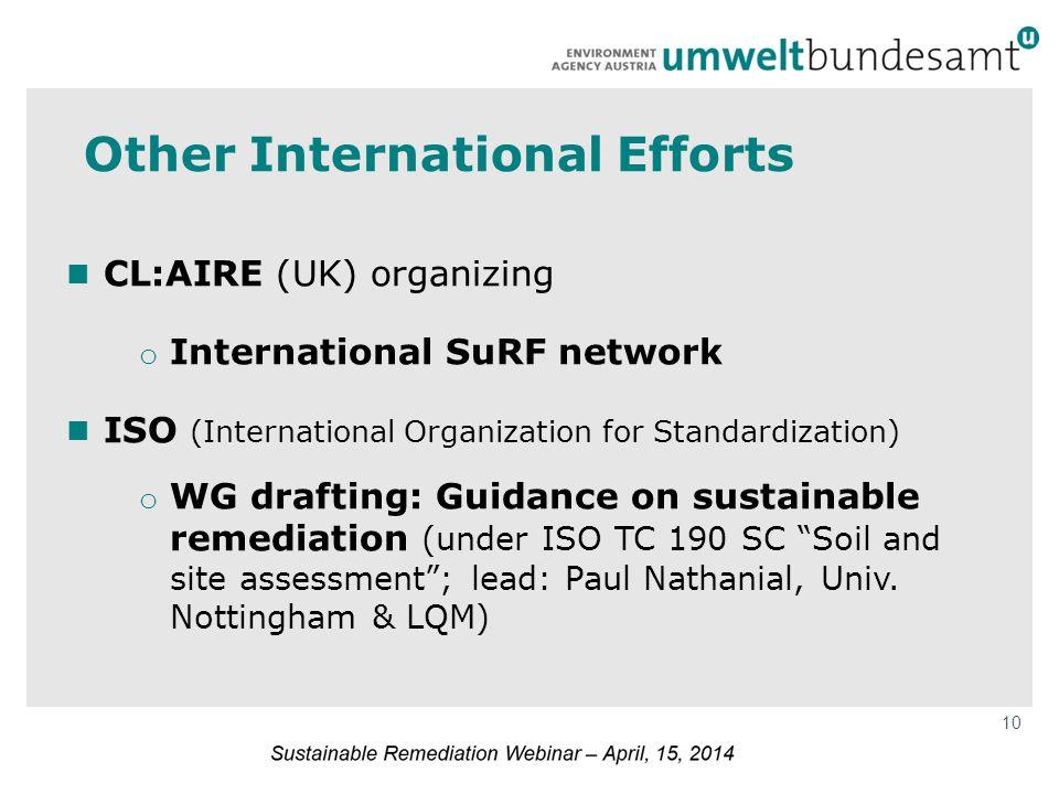10 Other International Efforts CL:AIRE (UK) organizing o International SuRF network ISO (International Organization for Standardization) o WG drafting