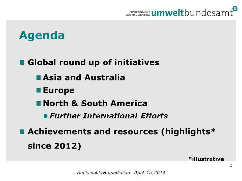 2 Agenda Global round up of initiatives Asia and Australia Europe North & South America Further International Efforts Achievements and resources (high
