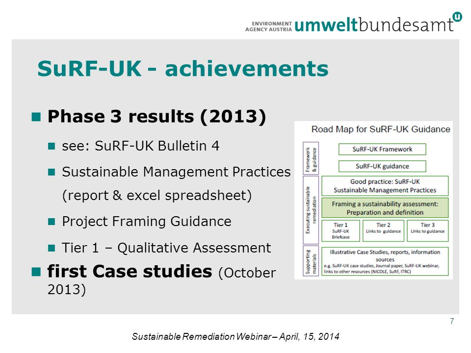 7 Sustainable Remediation Webinar – April, 15, 2014 SuRF-UK - achievements Phase 3 results (2013) see: SuRF-UK Bulletin 4 Sustainable Management Practices (report & excel spreadsheet) Project Framing Guidance Tier 1 – Qualitative Assessment first Case studies (October 2013)