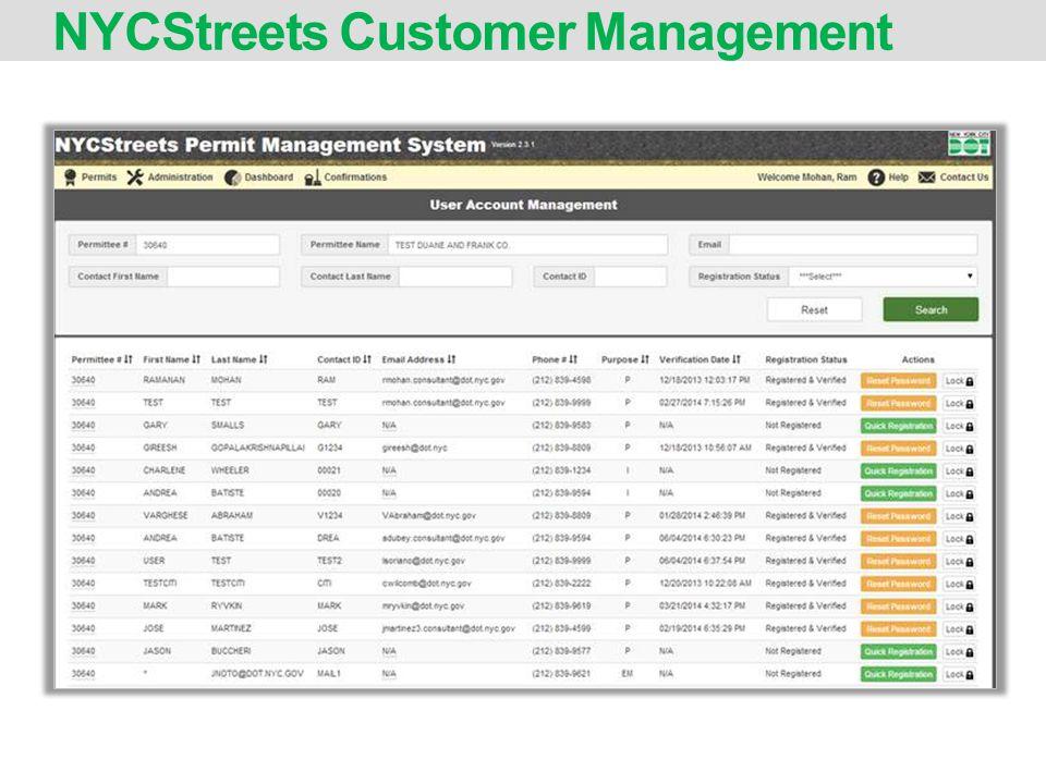NYCStreets Customer Management