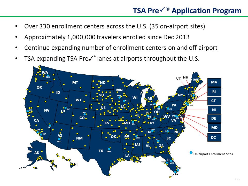 66 TSA Pre  ® Application Program On-airport Enrollment Sites Over 330 enrollment centers across the U.S. (35 on-airport sites) Approximately 1,000,0