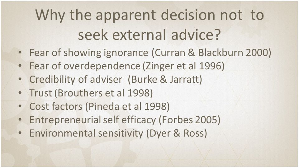 Why the apparent decision not to seek external advice? Fear of showing ignorance (Curran & Blackburn 2000) Fear of overdependence (Zinger et al 1996)