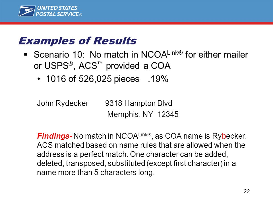  Scenario 10: No match in NCOA Link® for either mailer or USPS ®, ACS ™ provided a COA 1016 of 526,025 pieces.19% John Rydecker 9318 Hampton Blvd Memphis, NY 12345 Findings- No match in NCOA Link®, as COA name is Rybecker.