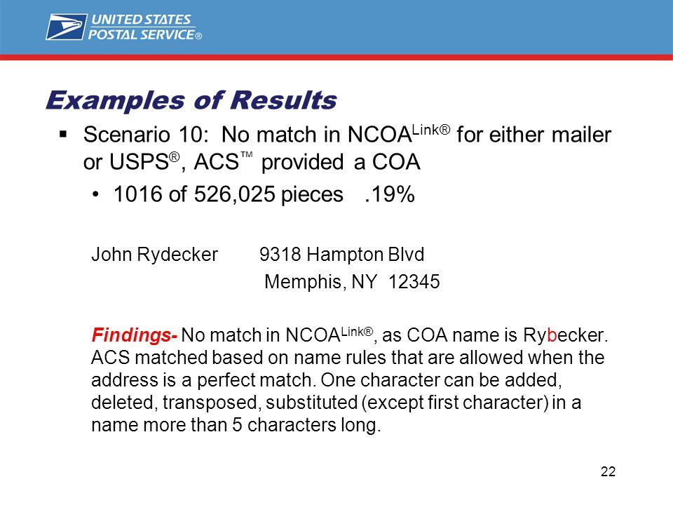 Scenario 10: No match in NCOA Link® for either mailer or USPS ®, ACS ™ provided a COA 1016 of 526,025 pieces.19% John Rydecker 9318 Hampton Blvd Memphis, NY 12345 Findings- No match in NCOA Link®, as COA name is Rybecker.
