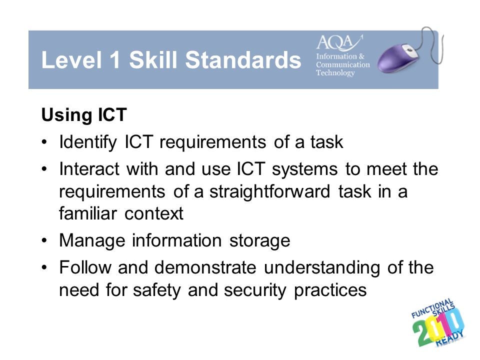 Level 1 Skill Standards Using ICT Identify ICT requirements of a task Interact with and use ICT systems to meet the requirements of a straightforward