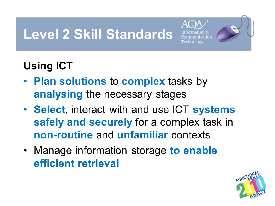 Level 2 Skill Standards Using ICT Plan solutions to complex tasks by analysing the necessary stages Select, interact with and use ICT systems safely a