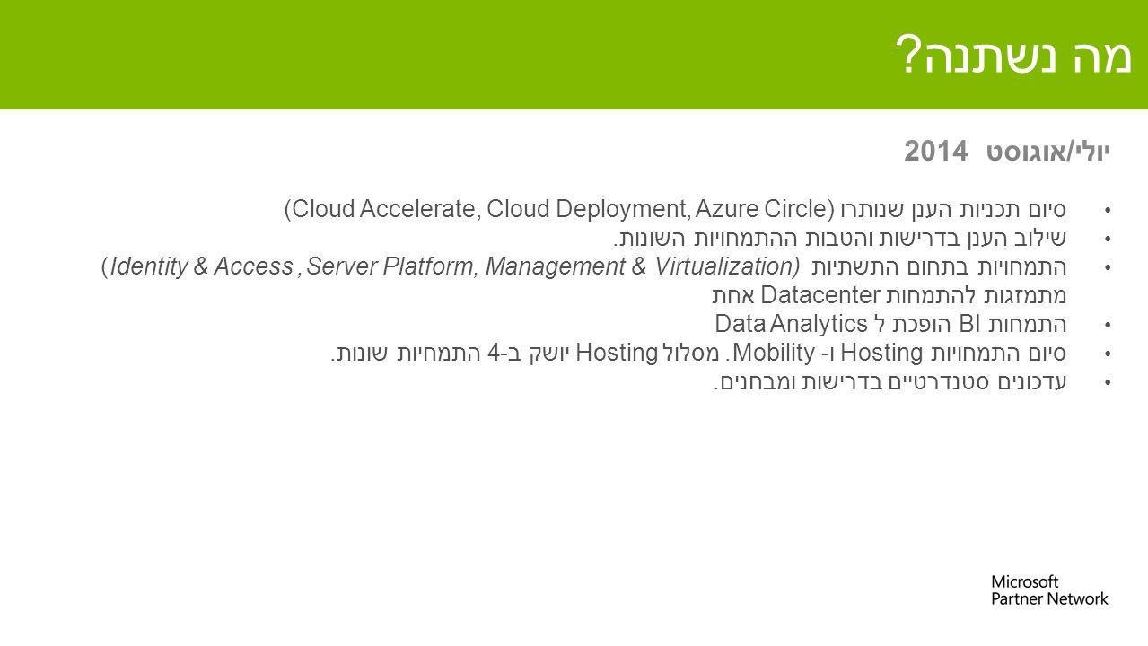 מה נשתנה? סיום תכניות הענן שנותרו (Cloud Accelerate, Cloud Deployment, Azure Circle) שילוב הענן בדרישות והטבות ההתמחויות השונות. התמחויות בתחום התשתיו