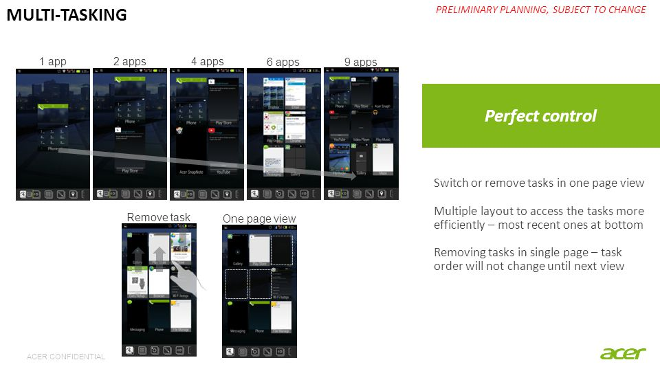 ACER CONFIDENTIAL Perfect control PRELIMINARY PLANNING, SUBJECT TO CHANGE MULTI-TASKING 1 app 2 apps 4 apps 6 apps9 apps Switch or remove tasks in one page view Multiple layout to access the tasks more efficiently – most recent ones at bottom Removing tasks in single page – task order will not change until next view Remove task One page view