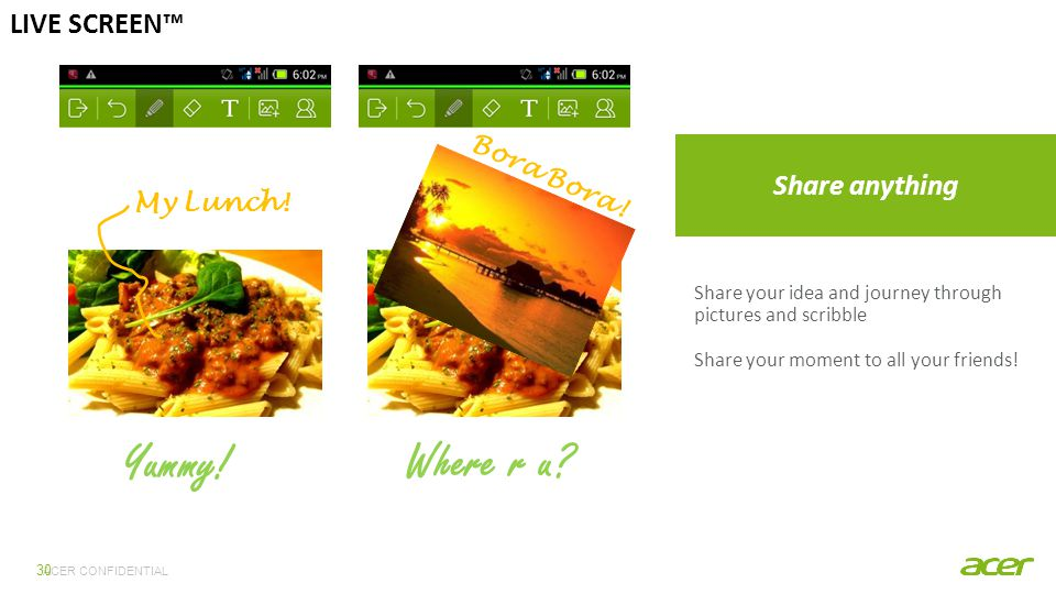 ACER CONFIDENTIAL 30 LIVE SCREEN™ Share anything Share your idea and journey through pictures and scribble Share your moment to all your friends.