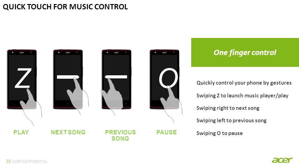 ACER CONFIDENTIAL 33 QUICK TOUCH FOR MUSIC CONTROL One finger control Quickly control your phone by gestures Swiping Z to launch music player/play Swiping right to next song Swiping left to previous song Swiping O to pause Z PLAY O PAUSEPREVIOUS SONG NEXT SONG