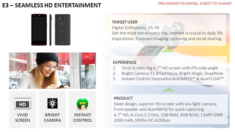 ACER CONFIDENTIAL VIVID SCREEN BRIGHT CAMERA INSTANT CONTROL E3 – SEAMLESS HD ENTERTAINMENT PRELIMINARY PLANNING, SUBECT TO CHANGE TARGET USER Digital Enthusiasts, 25-35 Get the most out of every day, internet is crucial to daily life inspirations.