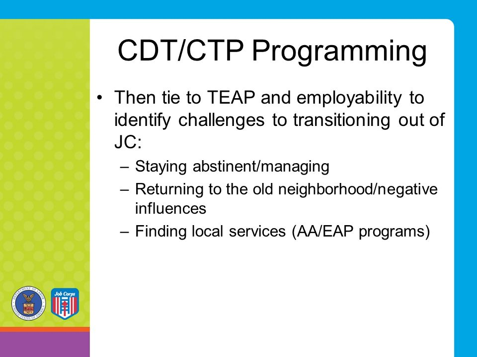 CDT/CTP Programming Then tie to TEAP and employability to identify challenges to transitioning out of JC: –Staying abstinent/managing –Returning to th