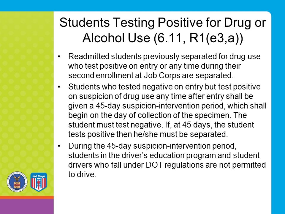 Students Testing Positive for Drug or Alcohol Use (6.11, R1(e3,a)) Readmitted students previously separated for drug use who test positive on entry or