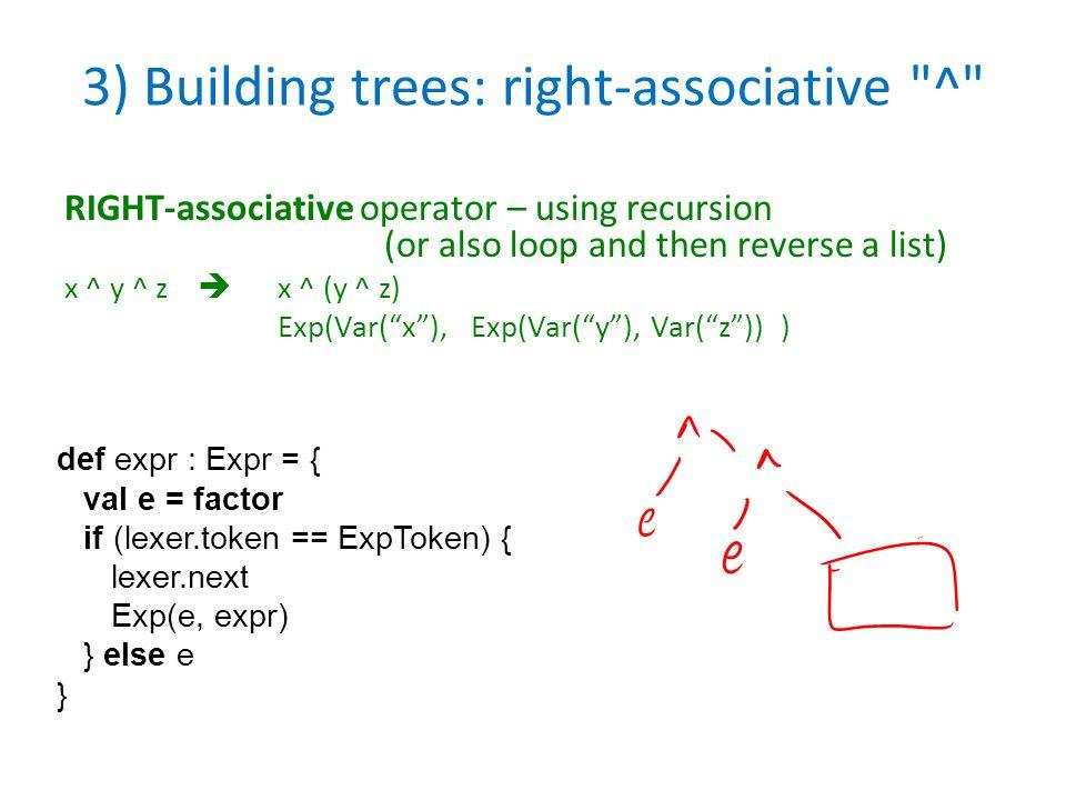3) Building trees: right-associative