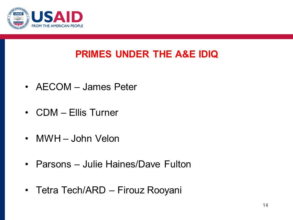 PRIMES UNDER THE A&E IDIQ AECOM – James Peter CDM – Ellis Turner MWH – John Velon Parsons – Julie Haines/Dave Fulton Tetra Tech/ARD – Firouz Rooyani 14