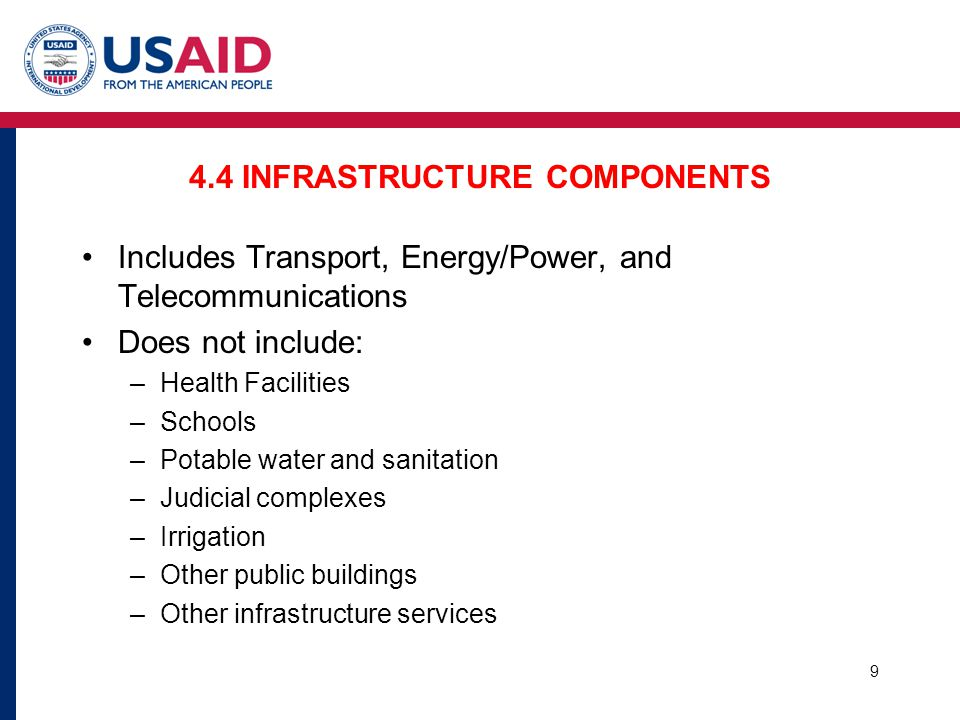 4.4 INFRASTRUCTURE COMPONENTS Includes Transport, Energy/Power, and Telecommunications Does not include: –Health Facilities –Schools –Potable water an