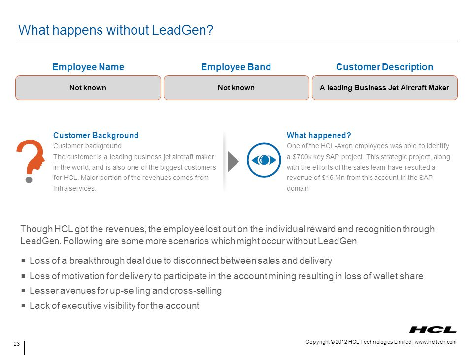 Copyright © 2012 HCL Technologies Limited | www.hcltech.com What happens without LeadGen? Though HCL got the revenues, the employee lost out on the in