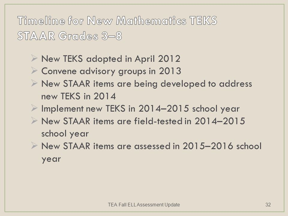  New TEKS adopted in April 2012  Convene advisory groups in 2013  New STAAR items are being developed to address new TEKS in 2014  Implement new TEKS in 2014–2015 school year  New STAAR items are field-tested in 2014–2015 school year  New STAAR items are assessed in 2015–2016 school year TEA Fall ELL Assessment Update32