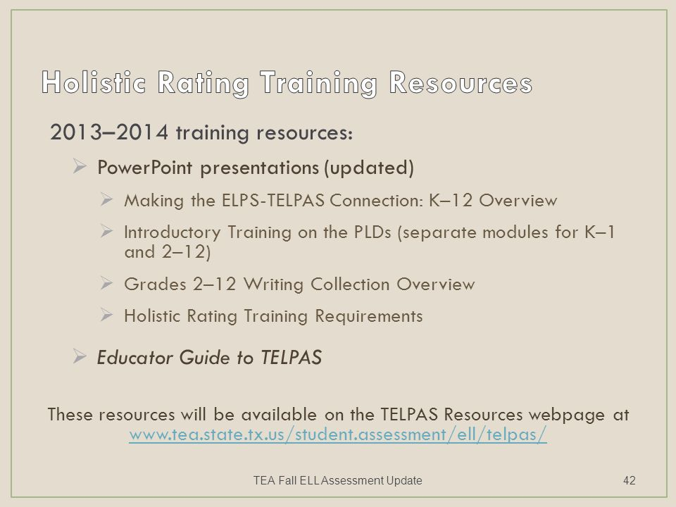 2013–2014 training resources:  PowerPoint presentations (updated)  Making the ELPS-TELPAS Connection: K–12 Overview  Introductory Training on the P