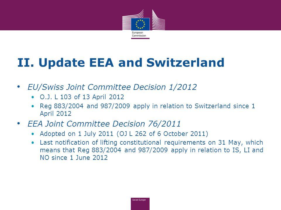 II. Update EEA and Switzerland EU/Swiss Joint Committee Decision 1/2012 O.J.