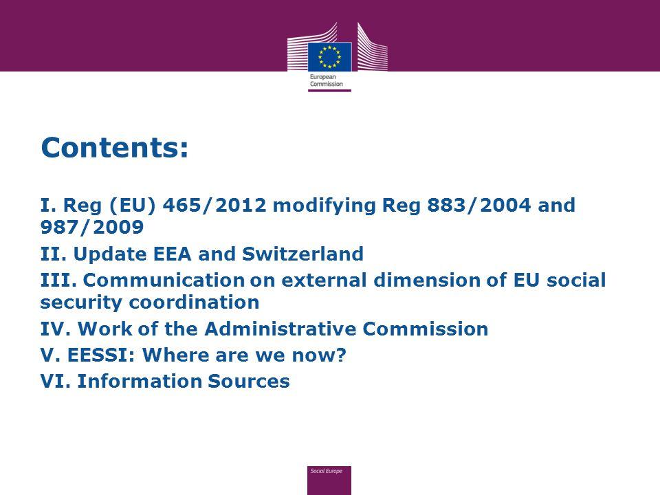 Contents: I. Reg (EU) 465/2012 modifying Reg 883/2004 and 987/2009 II.