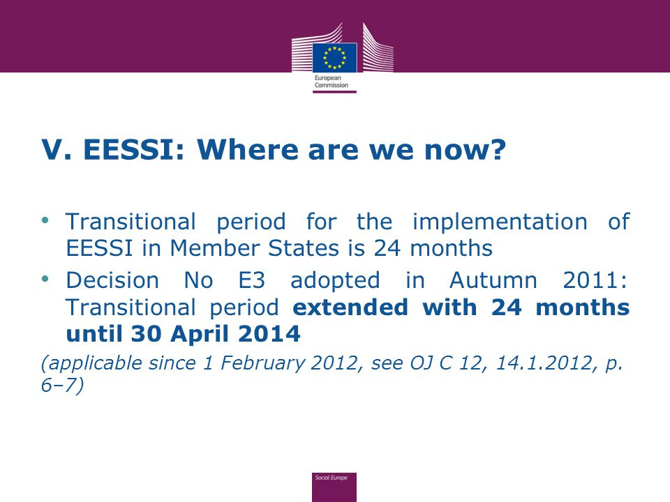 V. EESSI: Where are we now.