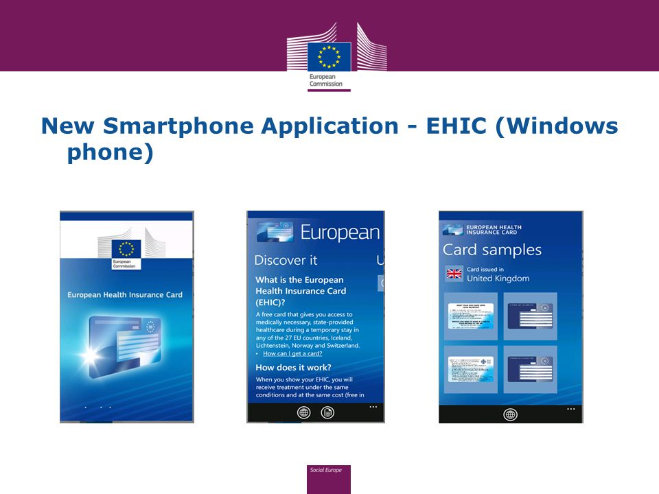 New Smartphone Application - EHIC (Windows phone)