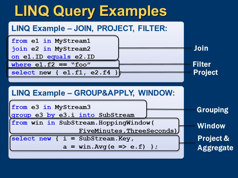 LINQ Query Examples LINQ Example – GROUP&APPLY, WINDOW: from e3 in MyStream3 group e3 by e3.i into SubStream from win in SubStream.HoppingWindow( Five